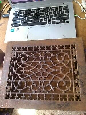 Victorian Cast Iron Floor Heat Grate Register w/Louvers VGC 12x10 Approx.