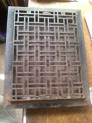 Maze Cast Iron Floor/Wall? Heat Grate Register w/Louvers VGC 12x14 Approx.