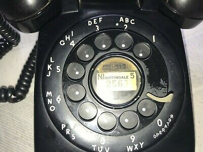 VINTAGE 50's? WESTERN ELECTRIC ROTARY TELEPHONE BELL SYSTEM BLACK DESK PHONE