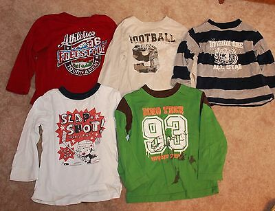 LOT OF 5 * Boys' 4T LONG-SLEEVED T-SHIRTS (Children's Place & Okie Dokie) EUC