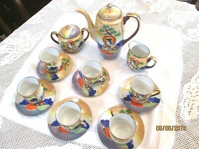 Vintage porcelain hand painted luster coffee set [ made in Japan ]