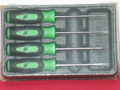 Snap On Green Soft Grip 4 Piece Mini-Tip Screwdriver Set In Storage Tray