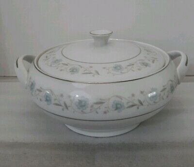 English Garden 1221 Fine China Serving Vegetable Bowl Covered Lid Handle Japan