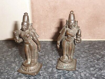 Pair Of 18Th/19Th Century Bronze Finish Asian/oriental Lady Figures Vgc For Age