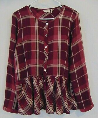 LOGO by Lori Goldstein Button Front Plaid Top with Peplum Detail Size 10 A279413