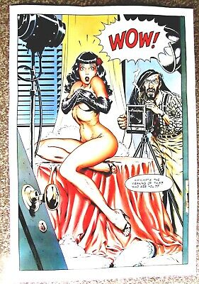 BETTIE PAGE ' WOW ' PROMO POSTER by DAVE STEVENS ( PACIFIC COMICS - RARE 1984 )