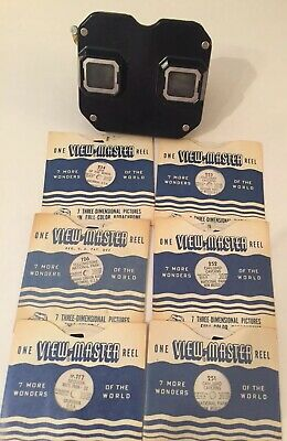 Vintage 1949 View Master With Reels Mid Century In Original Box and Reel List