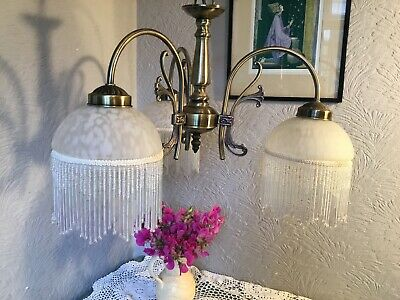 Vintage Deco Style Ornate Gold 3 Arm Chandelier Light with Beaded Shades #5734