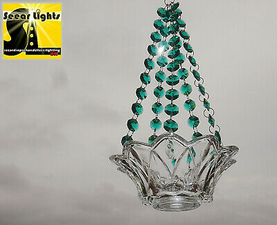 Chandelier Tea Light Peacock Green Candle Holder Glass Crystals Drops Wedding