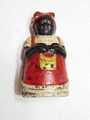 """Vintage Cast Iron 3"""" Black Americana Mammy Still Coin Bank, Red Apron with Purse"""