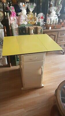Vintage / Retro Formica Drop Leaf Kitchen Dining Table Yellow 1950's - storage
