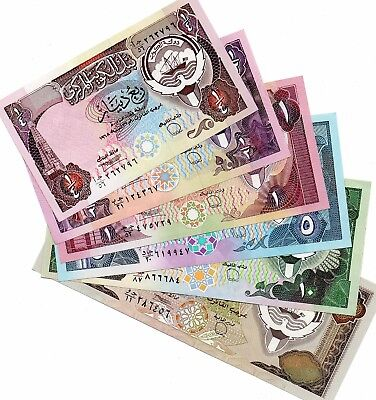 1980 3th ISSUE KUWAIT BANKNOTE COMPLETE SET 6 NOTES 1/4,1/2,1,5,10,20 DINARS aUN