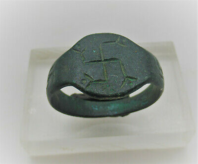 Ancient Roman Bronze Ring Marked With Svvatstikas Very Rare