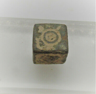 Ancient Roman Bronze Cubic Gaming Piece With Ring And Dot Motifs Rare