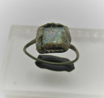 Late Byzantine Era Bronze Ring With Blue Stone Insert Authentic Historic Item