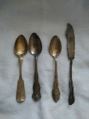 LOT 4 MISC ANTIQUE STERLING SILVER & Silverplate Spoons & Spreader Butter Knife