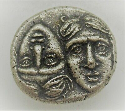 Rare Ancient Greek Silver Stater Coin Istros Twins And Eagle