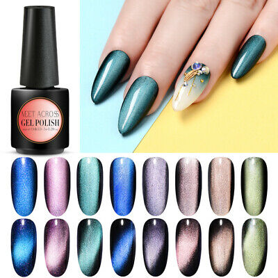 MEET ACROSS Holo Chameleon Magnetic 5D Cat Eye UV Gel Nail Polish Base Top Coat