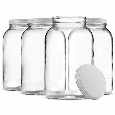 0a283f6e70d8 1-GALLON GLASS JAR Wide Mouth with Airtight Metal Lid Clear (4 Pack ...