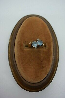 Vintage Art Deco 10K Yellow Gold Double Stack Round Blue Topaz Ring Size 4