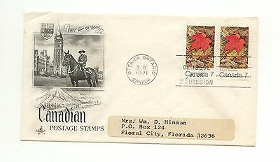 Canada FDC #537ii Autumn Leaves Pair HB Variety Scarce 1971 F233