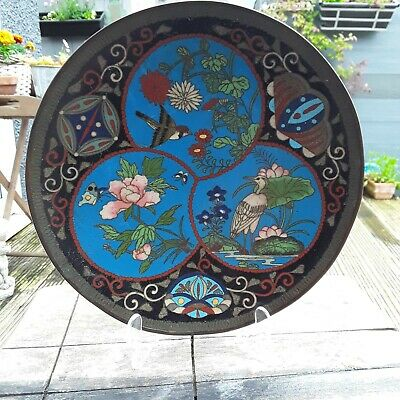 Antique Cloisonne Charger/Plate/Bowl With Birds Butterfly And Flowers. 9 1/2 Inc