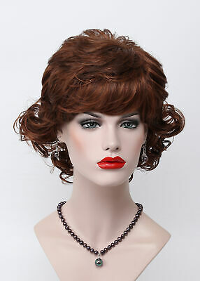 Dark Brown Fox Red Mix Short Curly Wave Fluffy Lady Women Daily Wig for Everyday