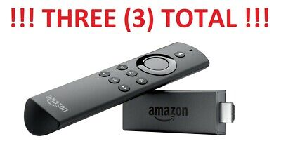 Lot of Three (3) Amazon Fire TV Stick with Alexa Voice Remote Streaming 2nd Gen