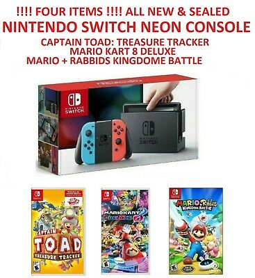 Nintendo Switch 32GB Neon Red Neon Blue Joy-Con & THREE games, ALL NEW &  SEALED