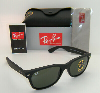 New Authentic Ray-Ban RB2132 622 55mm Rubber Black Frame Green G-15 Lenses