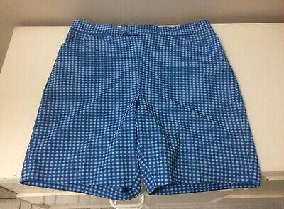 Original Vintage Men's 60s Shorts Pants , Blue White Check Print , Retro 1960s