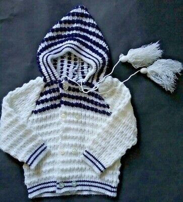 NURSERYLAND vintage Baby size 0 cardigan hoodie knit blue and white