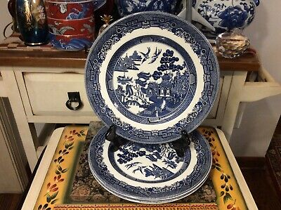 Vintage ( Set of 3) Johnson Brothers / Blue WILLOW / DINNER Plates /  England