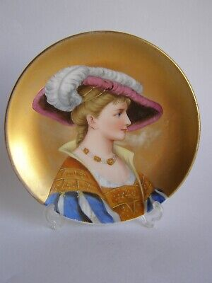 Antique Royal Vienna style hand painted porcelain dish - portrait of a lady