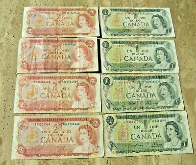 8 Bank of Canada 2 Dollar Notes - 1973 and 1974