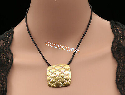 white pearl bead gold plated square pendant leather necklace fashion jewlery U14