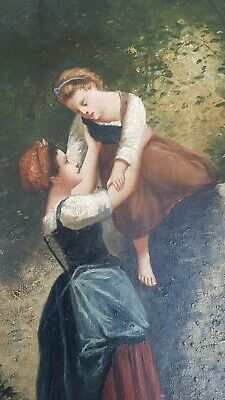 Antique French, Lovely late 19th century oil painting, signed