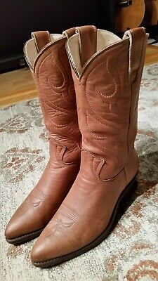5559390a3fb6d VINTAGE 1977 STEWART Boots Tan Leather Cowboy Handmade Men's 11 D ...