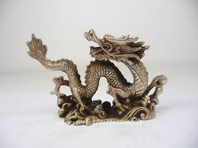 """21.2/"""" Superb chinese old Collectibles Copper Dragon Head Clarion Statue"""