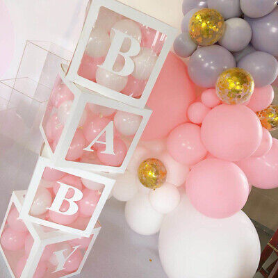 4Pc Square Transparent Boxes Baby Shower Christening Birthday Balloon Packing
