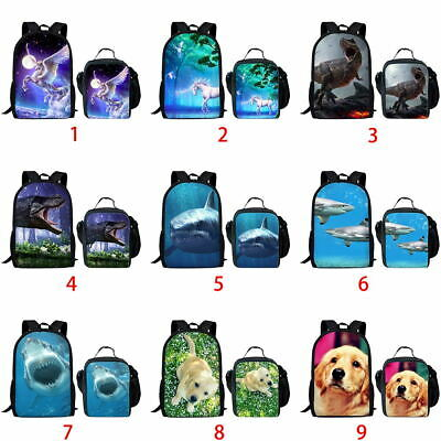 Unicorn Golden Retriever Girls School Bag Backpack Boys Laptop Rucksack Lunchbox
