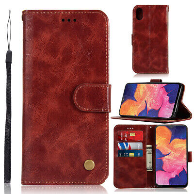 Luxury Retro Flip Leather Card Slots Wallet Case Cover For Samsung Galaxy A10e