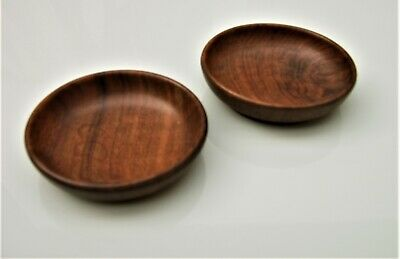 Pair Chinese huanghuali treen dishes 19th century Qing