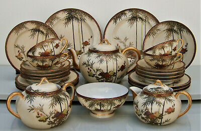 Japanese Satsuma egg shell porcelain tea service richly gilt and floral painted