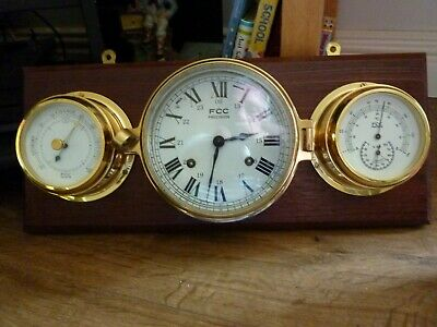 8 Day Ships Bell Clock with Barometer and Thermometer/Hygrometer all in Good W.O