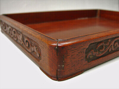 Chinese Huanghuali rectangular tray 19th century Qing rounded corners carved