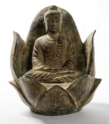Antique Indian Style Bronze Meditation Lotus Ghandara Buddha Statue - 29cm/12""