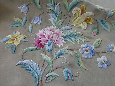 Antq crewel work embroidered panel seat cushion cover Arthur H Lee & sons /S84