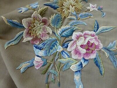 Antq crewel work embroidered panel seat cushion cover Arthur H Lee & sons /S82