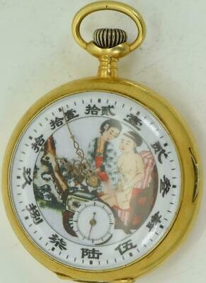 Antique gold plated silver&Erotic enamel dial Repeater watch for Chinese market